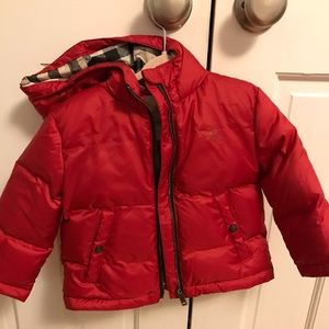 Brand new red Burberry down coat unisex 18 months